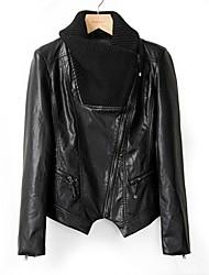 Leather Jacket Women's Long Sleeve Turndown PU  Jacket