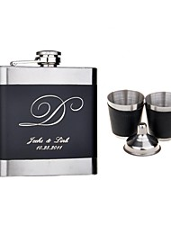 Personalized Gift Black 6oz Stainless Steel Hip Flask Set