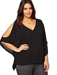Women's V Neck Off the Shoulder Oversize Chiffon T-shirt