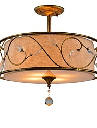 K9 Crystal Flush Mount, 5 Light, Classical Iron Fabric Painting