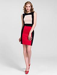 Homecoming Cocktail Party Dress Sheath/Column Jewel Knee-length Cotton