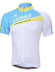 veobike verão ultravioleta poliéster respirável camisa de ciclismo manga curta resistente dos homens - luz azul + branco