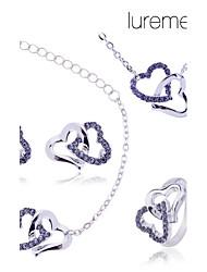 lureme double ensemble collier coeur bracelet boucle d'oreille anneau de bijoux des femmes (de couleurs assorties)