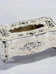 Western-Style Carving Flower Paper Goods Box White Metal Silver-Plating Paper Goods Tube Table Napkin Paper Carton