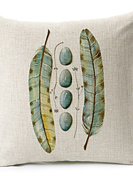 paralelepípedos verde e teste padrão da pena de algodão / fronha decorativo linho