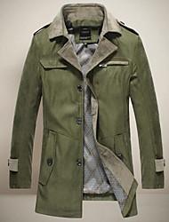 cuello solapa chun zheng hombres todo a juego overcoat_l1016 color sólido
