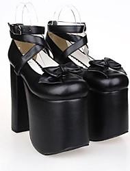 pu 15 centímetros de couro salto alto doce lolita sapatos com linha