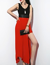 Women's Sexy Patchwork A Line / Asymmetrical Dress , U Neck Asymmetrical Polyester