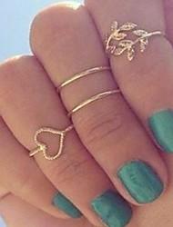 coeur en alliage anneau de feuilles de jeu des femmes