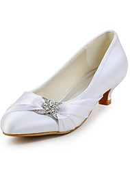 Women's Spring Summer Fall Winter Satin Wedding Party & Evening Low Heel Rhinestone Ivory White