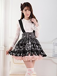 Black Crown AndRose Flannel Lolita Princess Skirt Lovely