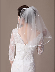 One-tier Shoulder Length Bridal Wedding Veils  with Crystals Ribbon Edge and Comb Made of Soft Tulle