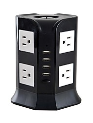 Overload Protector 5V/2.1A 2 Floor Power Strips with 8 USA Outlets and 4 USB