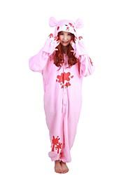 Kigurumi Пижамы Медведи / енот трико/Комбинезон-пижама Фестиваль / праздник Нижнее и ночное белье животных Halloween розовый Пэчворк Флис