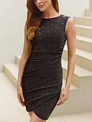 plendor runden Kragen einfarbig ärmelloses Kleid der Frauen