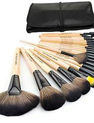 venta caliente pincel de maquillaje profesional establece con cepillos de lana 24pcs y bolso negro