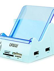 5-porta USB de alta velocidade leitor de cartão sd / tf / ms 2.0 hub
