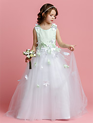 A-line Princess Sweep / Brush Train Flower Girl Dress - Satin Tulle Jewel with Beading Flower(s)