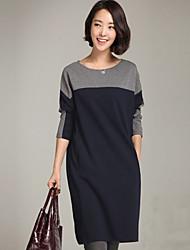 e.s vestido de cuello redondo de punto de moda femenina