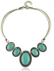 la cosecha de plata turquesa oval para las mujeres visten collares de la joyería