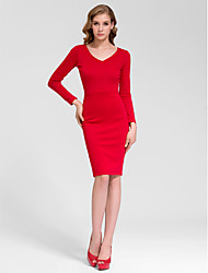 Cocktail Party Dress - White Sheath/Column V-neck Knee-length Cotton