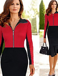 VICONE Women's Long Sleeve Sexy Bodycon OL Slim Dresses