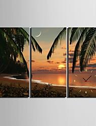 e-home® cenário da praia do por do sol do relógio em lona 3pcs