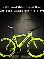 Bici 700c strada rc scatto fisso 60 millimetri ™ ampia doppia corona fit bicicletta guidare la bicicletta bicicletta a scatto fisso all'indietro