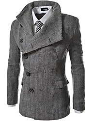 Men's Long Sleeve Long Coat , Cotton/Polyester Pure