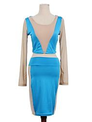 Women's Contrast Color Long Sleeve Bodycon Dress TY065