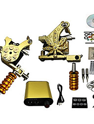 Professional Tattoo Machine Kits with 2 Cast Iron Tattoo Machines and LCD Powder Supply