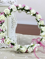 PE Foam Roses Headband Hand-made Women's Wedding Garland White Rosettes with Glass Bead Artificial Flowers Headpieces