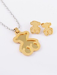 Fashion Scrub Bear Titanium Steel Gold Plated (Necklace&Earrings) Jewelry Set