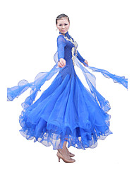 Ballroom Dance Outfits / Dresses Women's Performance / Training Mercerized Cotton / Elastic Silk-like Satin / Tulle Long Sleeve