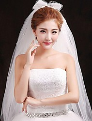 Two-tier Fingertip Wedding Veil With Ribbon Bowknot