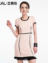 vestito di un pezzo di eral®women elegante sottile o-collo abito estivo chiffon con volant bordo