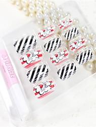 12 Pcs  Black And White Stripes  Design Nail Art Tips With Glue