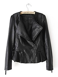 Leather Jacket Women's Long Sleeve Collarless PU Jacket