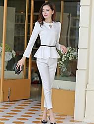 Women's Round Collar Rhinestones Slim Suit (Top&Pant)