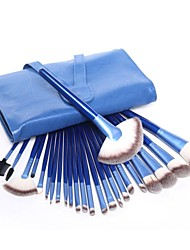 Professional 24pcs Blue Cosmetic Makeup Brushes Kit High Quality Foundation Eye Set With Leather Case