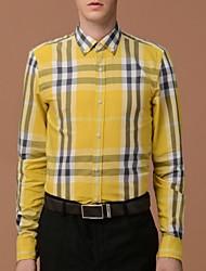 Men's Button Down Collar Casual Long Sleeve Cotton Checked Shirt