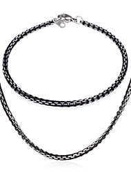 InStyle Cool 316L Stainless Steel Black Box Chain Necklace Bacelet Set Jewelry for Women Men High Quality