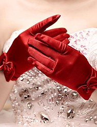 Wrist Length Fingertips Glove Satin Bridal Gloves Spring / Summer / Fall / Winter Bow