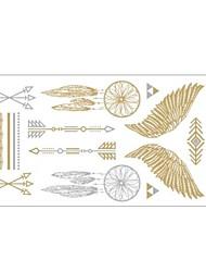 1pc ouro e prata metálica colar pulseira tatuagem adesivo