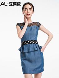 abito estivo sottile merletto rappezzatura elegante vestito denim un pezzo di eral®women con pois e volant