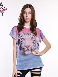 Damen Tierfell-Druck Einfach Lässig/Alltäglich T-shirt Frühling / Sommer / Herbst Kurzarm Mehrfarbig Polyester Undurchsichtig