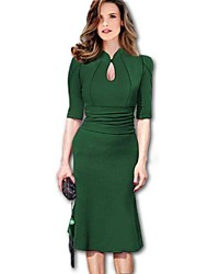 Women's Fashion Ruffle Dovetail Half Vintage Pencil Dresses