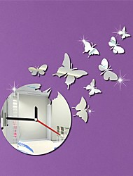 "17.5""H Modern Style Cartoon Wall Paper Buterfly Home Decoration 3D DIY Acrylic Mirror Wall Clock"