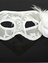 Plastic Flowers White Chiffon Feather Party Mask