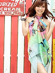 Women's Korean Version of the Green and Blue Butterfly Chiffon Beach Towel